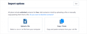 sendinblue-import-options-facts-articles sms in wordpress
